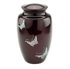 Mother of Pearl Inlay Butterfly Funeral Cremation Urn,Adult Metal Funeral urn