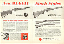 1966 2 Page Print Ad of Ruger Sporter Carbine & International Rifle