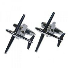 Glider Aircraft Rhodium Plated Cufflinks (X2N186)