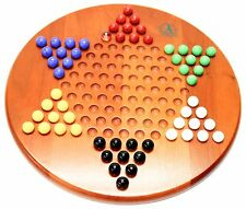 EDDIE BAUER ROUND WOODEN CHINESE CHECKERS WITH MABLES