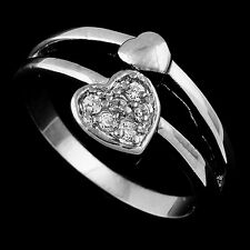 womens jewelry Wedding Gold Filled Silver Clear crystal Heart Love Ring Size 5