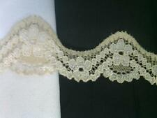 """2 yards of two tone natural and beige stretch lace trim 1 1/4"""" w S6-8"""