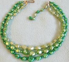 Vintage 1950s 3-Strand SHADES OF GREEN Glass Pearly Beaded NECKLACE