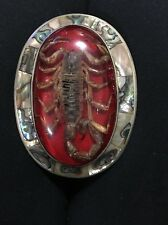 VINTAGE 1970s  REAL SCORPION Abalone SOUTHWESTERN DESIGN ART BELT BUCKLE