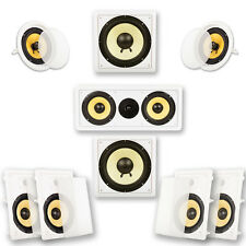 """Acoustic Audio HD-728 In-Wall & Ceiling Home Theater 7.2 Surround 8"""" Speaker Set"""