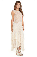 NWT $98 Free People French Courtship Lace Dress XS S M Tea (Ivory)