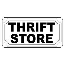 Thrift Store Black Retro Vintage Style Metal Sign - 8 In X 12 In With Holes