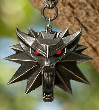 The Witcher 3 Wild Hunt Wolf Red LED Light Up Eyes Medallion  Pendant + Chain