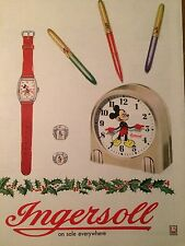 Vintage 40s Mickey Mouse Watch Rings Clock Pens Ad Ingersoll Sat Eve Post Disney