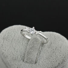 Hot Charm 18K Platinum Filled Lovely White Sappire Angle's Wing Ring Sz 9 tab