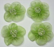 60 Organza Beaded Flower Sewing Appliques ~ Green F003