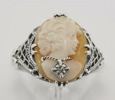 Antique Hand Carved Italian Cameo w/ Diamond Ring - Sterling Silver Size 8 New