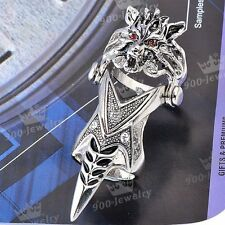 1x Punk Silvery Mens Knuckle Red Crystal Wolf Armour Metallic Finger Double Ring