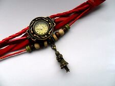 Retro Leather Bracelet Alice in Wonderland  Quartz Wrist Watch Red