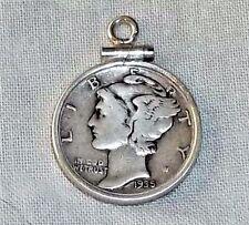 VINTAGE Sterling Silver 1935 MERCURY HEAD DIME Charm Mounted in Sterling BEZEL