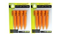 8 x LED Light Up Tent Tarpaulin Pegs Adjustable Ground Stake Camping Hiking New