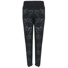 Stella McCartney Black Semi-Sheer Embroidered Rose Trousers Pants IT42 UK10