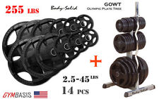 Body-Solid GOWT Plate Tree + ORST255 Black Rubber Grip Olympic Plates 255lbs.