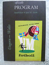 1958 World Cup Official Programme HUNGARY v WALES, 8 June (Original* Exc)