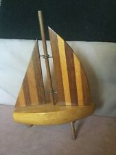 Beautiful Wooden Model of a Yacht With Contrasting Striped Decoration