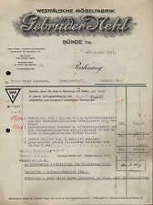 BÜNDE (WESTF.), Rechnung 1933, Westfälische Möbel-Fabrik Gebrüder Nehl