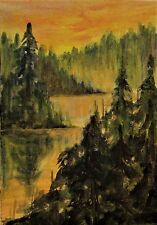 ACEO Original Acrylic Painting Forest River Sunset Landscape Cape Cod Artist