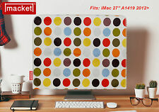 "NEW Apple iMac Mac Cover 27"" - 'OLIVE SPOT' MACKET - Retro Dust Jacket UK Made"
