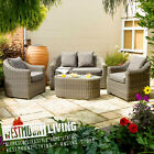NEW GARDEN OUTDOOR WEATHERPROOF RATTAN WICKER TABLE SOFA + CHAIR FURNITURE SET