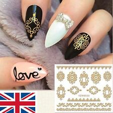 Nail Art 3D Stickers Gold Decal Transfer Shiny Metallic Jewellery Lace  YZW6030