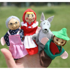 4 Wooden Head Finger Puppets for Little Red Riding Hood Story Telling Kids  @