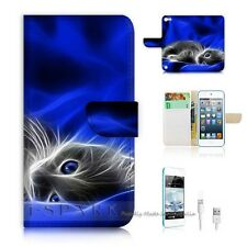 iPod Touch 5 iTouch 5 Flip Wallet Case Cover! S8205 Pussy Cat