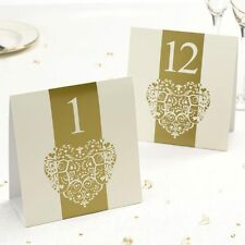IVORY & GOLD VINTAGE ROMANCE Table Numbers for  Wedding Party - numbers 1-12