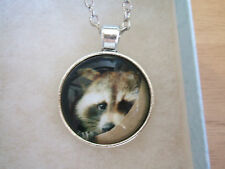 Cute Raccoon, Fox, Animal Cabochon Tibetan Silver Glass Chain Pendant Necklace