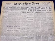 1940 SEPT 19 NEW YORK TIMES - BIG R. A. F. FORCE TAKES FIGHT TO NAZIS - NT 181