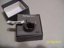 NEW CHARMING MENS STAINLESS STEEL DAD / DIAMOND ACCENT REVERSIBLE RING SIZE 10