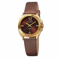 New Women's Akribos XXIV AK742YG Swiss Quartz Diamond Brown Satin Strap Watch