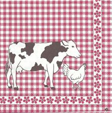 2 Serviettes en papier Vache hollandaise Vichy rouge - Paper Napkins Dutch Cow