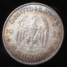 1935 A Germany Silver 5 Reichs Mark German Nazi Collector Coin Gorgeous Toning.