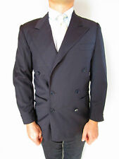 CERRUTI 1881 Men's Vtg 80s Wool Tweed Double Breast Grey Blazer Jacket sz S AO67
