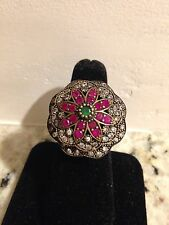 Vintage Sterling Silver & 18k Gold Ruby,emerald , Diamond Ring