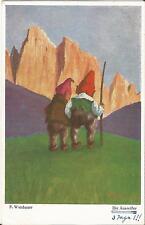 Zwerg, Wichtel im Gebirge, Die Ausreisser, alte Künstlerkarte von F. Wiesbauer