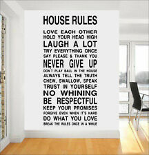 BIG House Family Home Rules Quote Wall Stickers Dining Room Removable Decals DIY