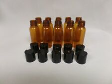 10 High quality Empty PET Plastic Bottles Amber color with 10 lids 1oz/30ml