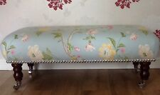 A Quality Long Footstool / Stool In Laura Ashley Summer Palace Duck Egg Fabric