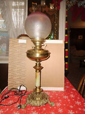 Vintage Banquet Oil/Electric Lamp on Pedestal w/ Etched Pinkish White GlassGlobe