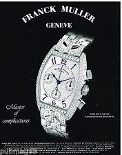 Publicité Advertising 2000 La Montre Chronographe Diamants Franck Muller Genève