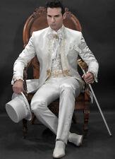 Vintage Weiss  3 PCS Herren Besondere Smoking  Herren Anzüge Hochzeitsanzug