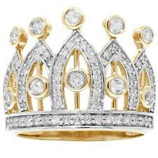 Natural Princess Crown White Sapphire 70 Diamond 9K 9ct 375 Solid Gold Ring