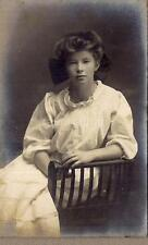 Lovely Young Big Victorian Hair Bow Girl Posing In Chair 1900s Dreamy Photo
