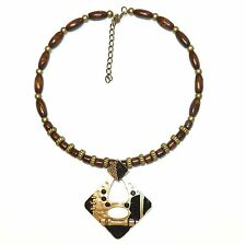 FN249f Wood Necklace with Gold Pewter Alloy Metal Focal Pendant w Rhinestone 15""